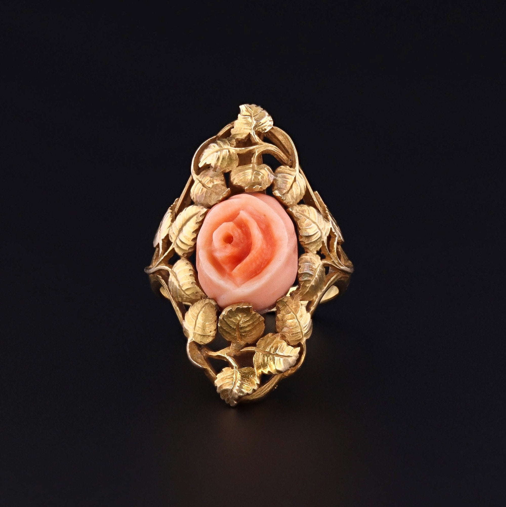 Antique Coral Rose Ring | 14k Gold Ring | Coral Ring | Antique Floral Ring