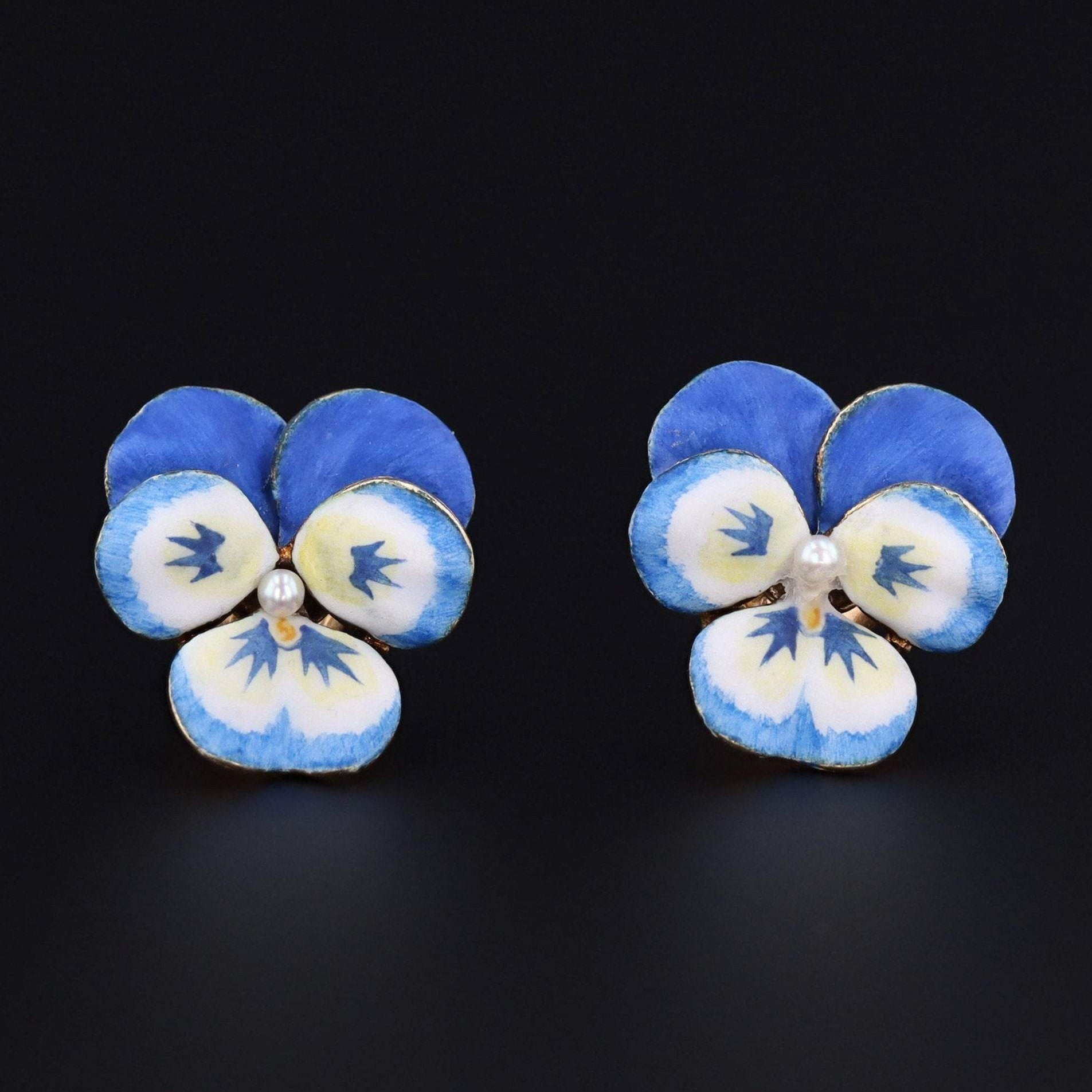 Vintage Pansy Earrings | 14k Gold & Enamel Pansy Earrings | 14k Gold Flower Earrings | 14k Gold Earrings | Blue Pansy Earrings