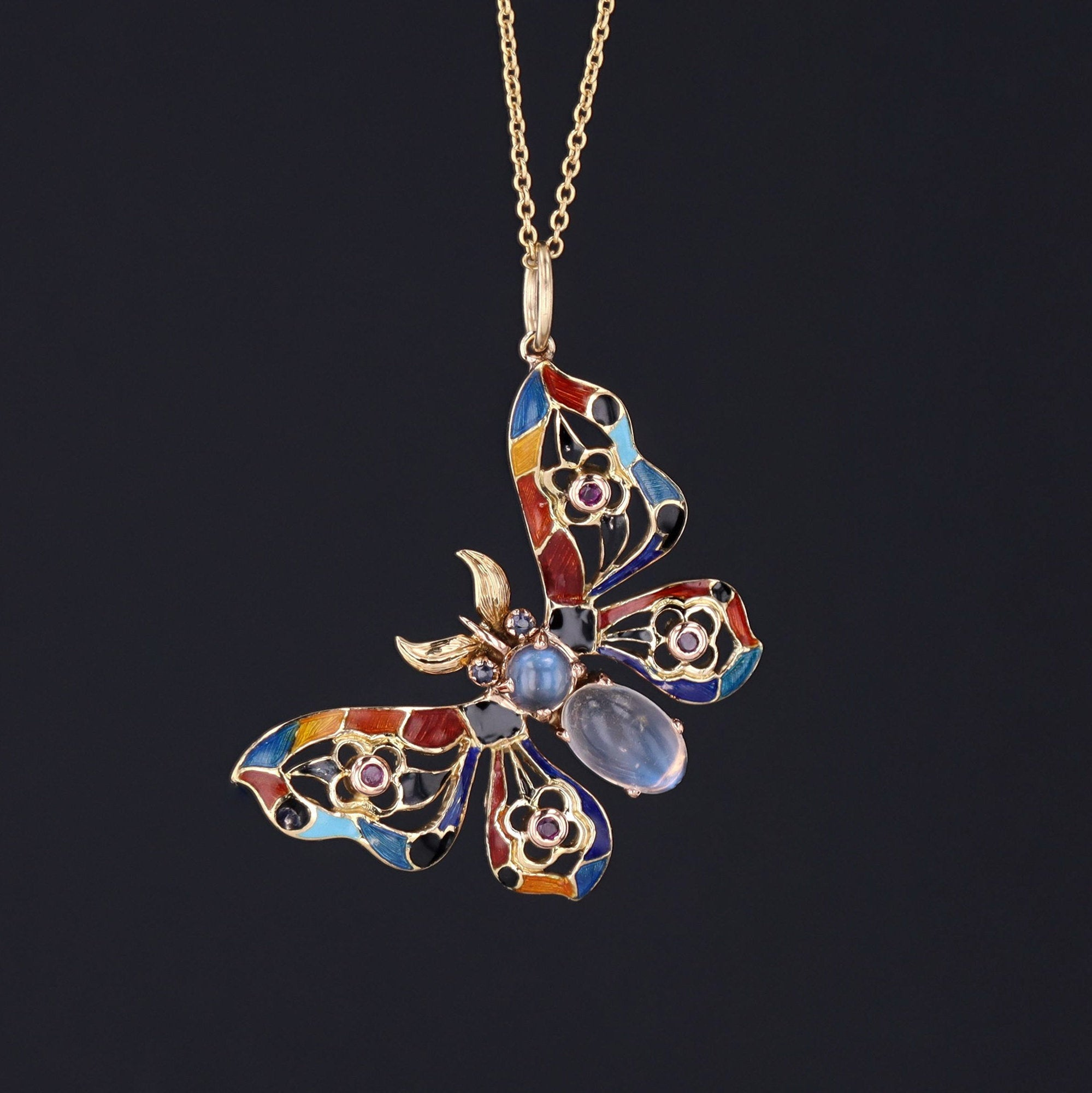 Butterfly Pendant | Enamel Moonstone Sapphire & Ruby Butterfly Pendant | 18k Butterfly Pendant with Optional 14k Chain
