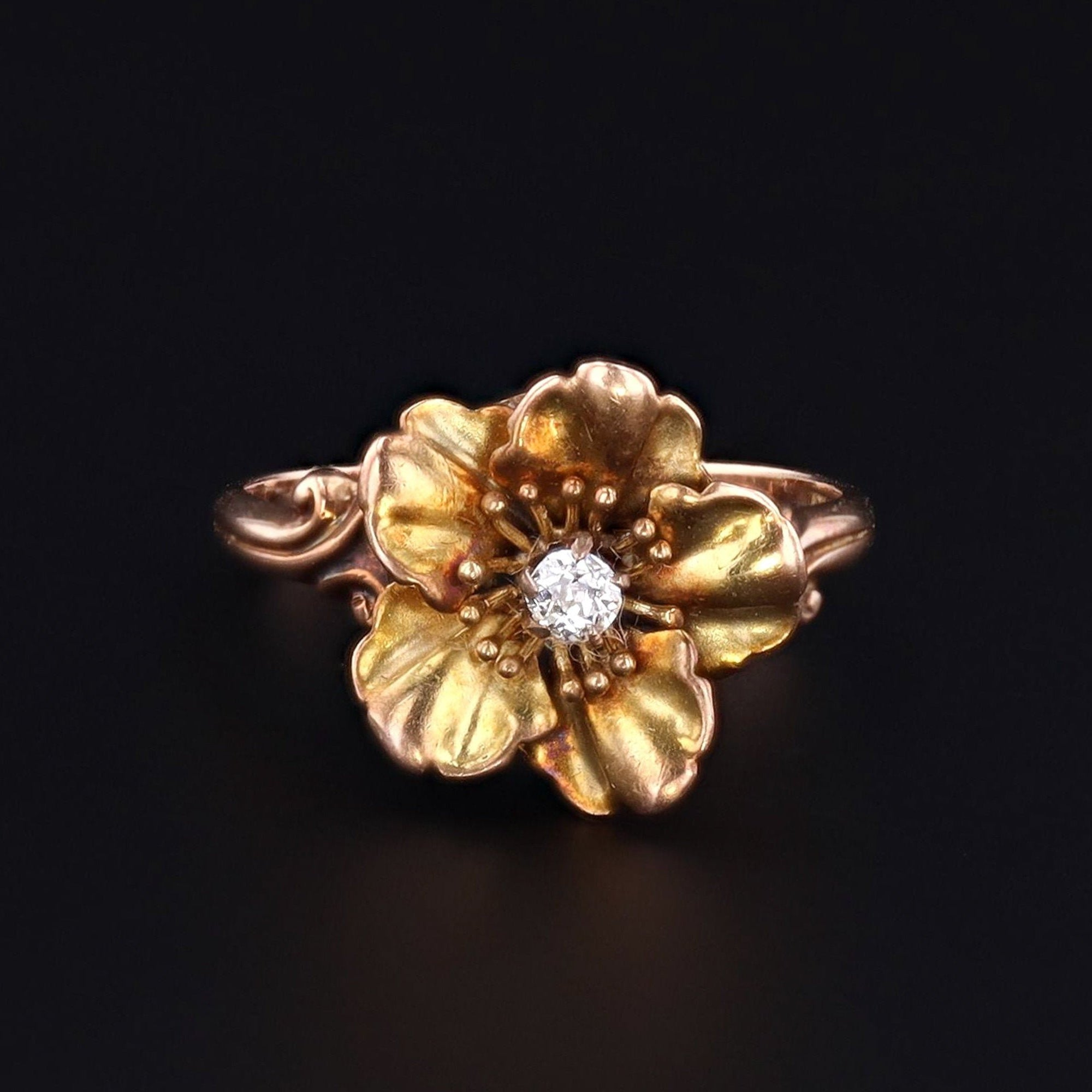 Diamond Flower Ring | Gold Flower Ring | 10k Gold Ring | Antique Ring | Diamond Ring