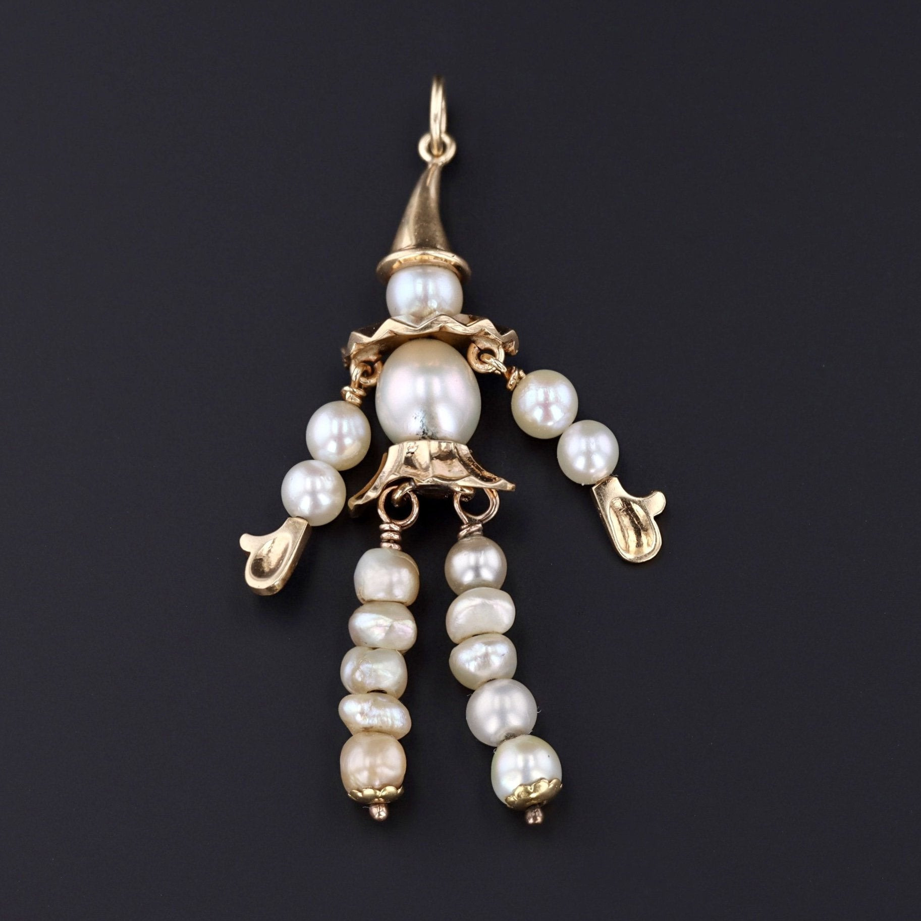 Clown Pendant | 14k Gold & Pearl Pendant | Moveable Clown Pendant | Vintage Pendant
