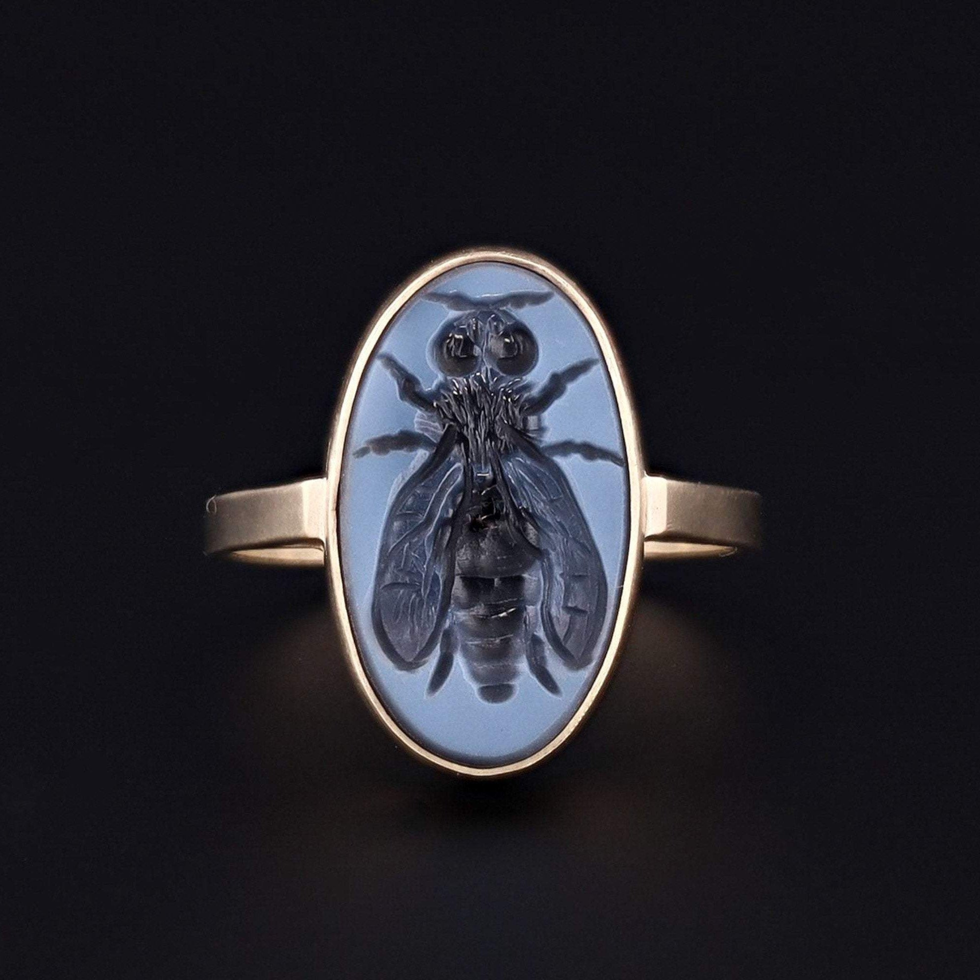 Bee Ring | Intaglio Ring | Black and White Agate Intaglio Ring | 14k Gold Ring