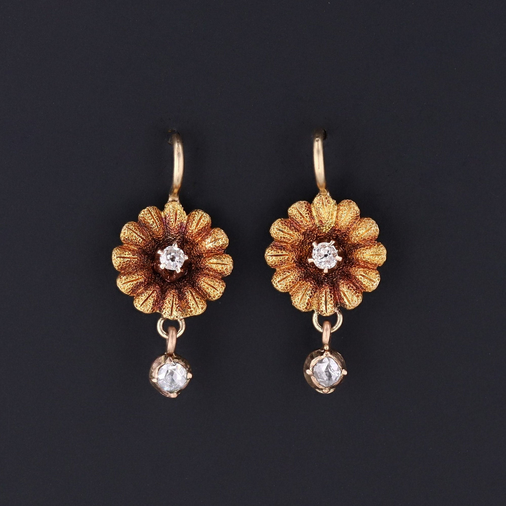 Daisy Earrings | Diamond Daisy Earrings | 14k Gold & Diamond Flower Earrings | Antique Pin Conversion Earrings