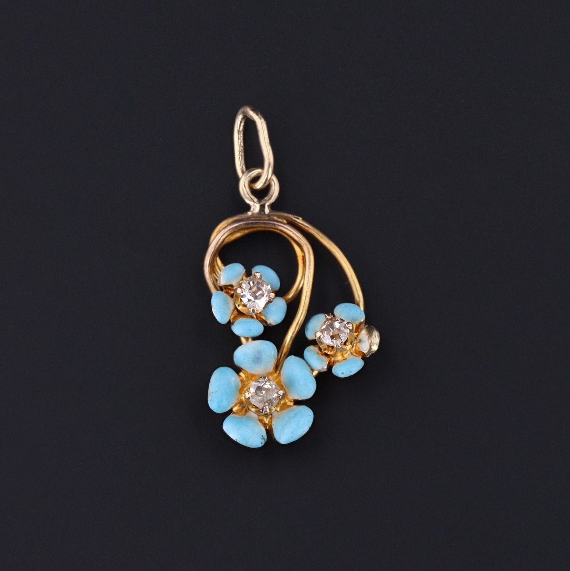 Forget-Me-Not Flower Charm | 14k Gold & Diamond Flower Pendant | Antique Conversion Pendant
