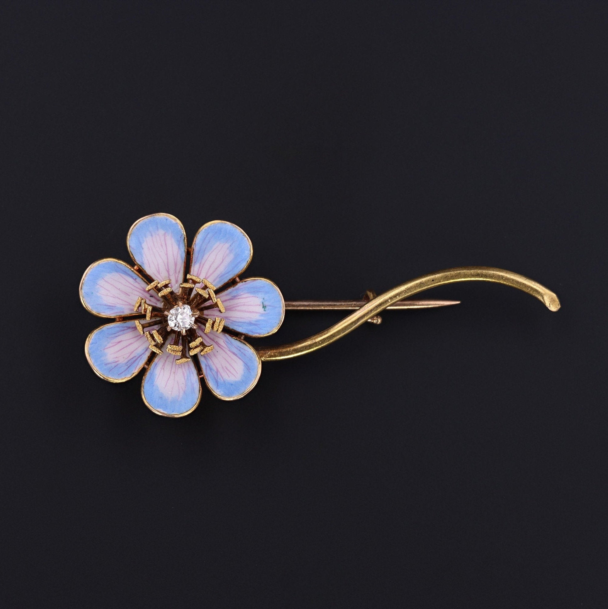 Enamel Flower Brooch | 18k Gold Flower Brooch | Blue Enamel Flower Brooch | Antique Brooch | Antique Pin