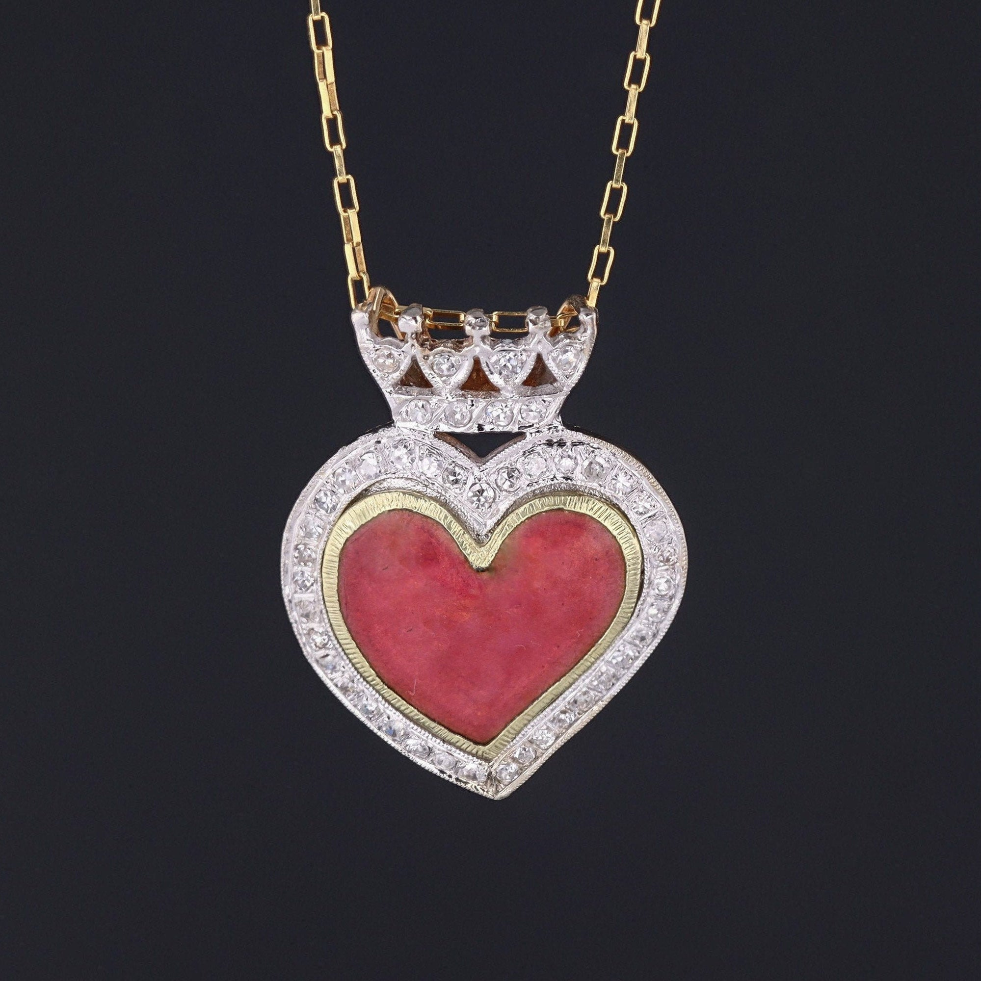 Enamel & Diamond Crowned Heart Pendant | Antique Enamel Heart | 14k Gold Heart Pendant on Optional 14k Chain