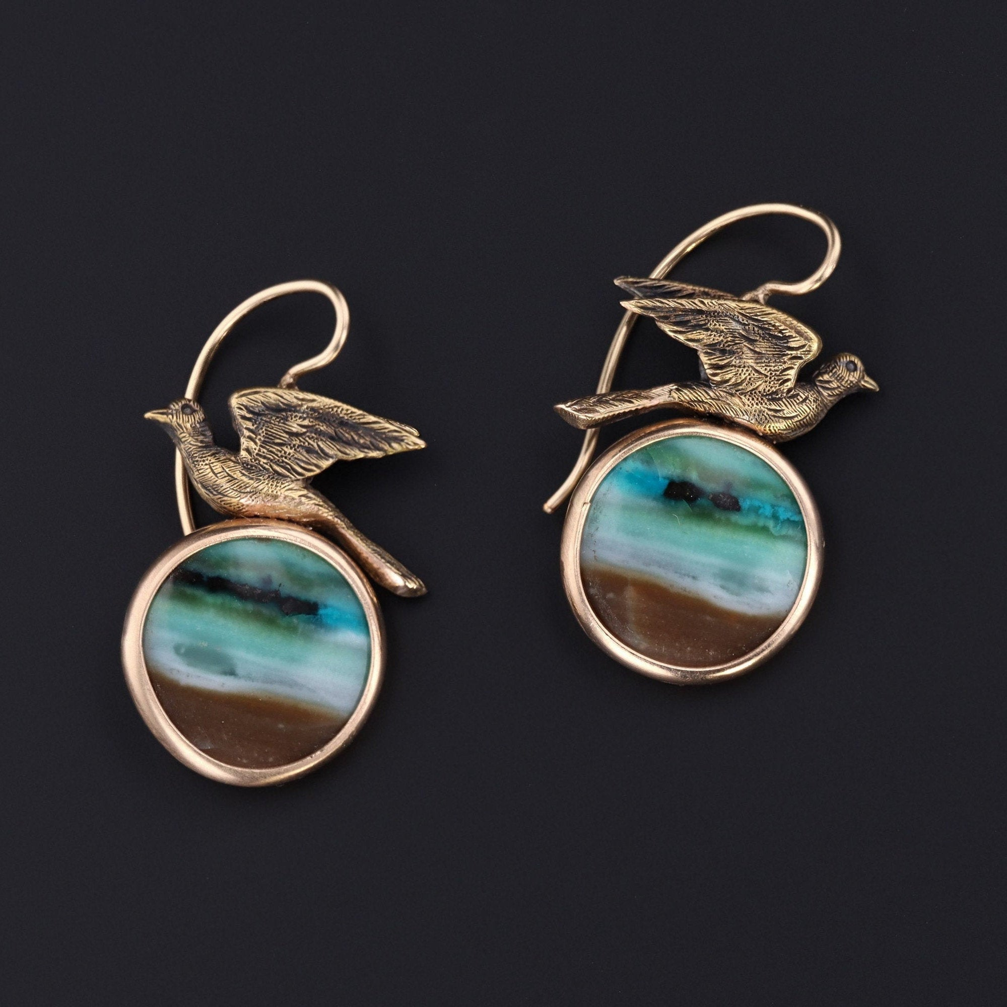 Bird Earrings | Opalized Wood Dangle Earrings | 14k Gold Earrings | Antique Pin Conversion Earrings
