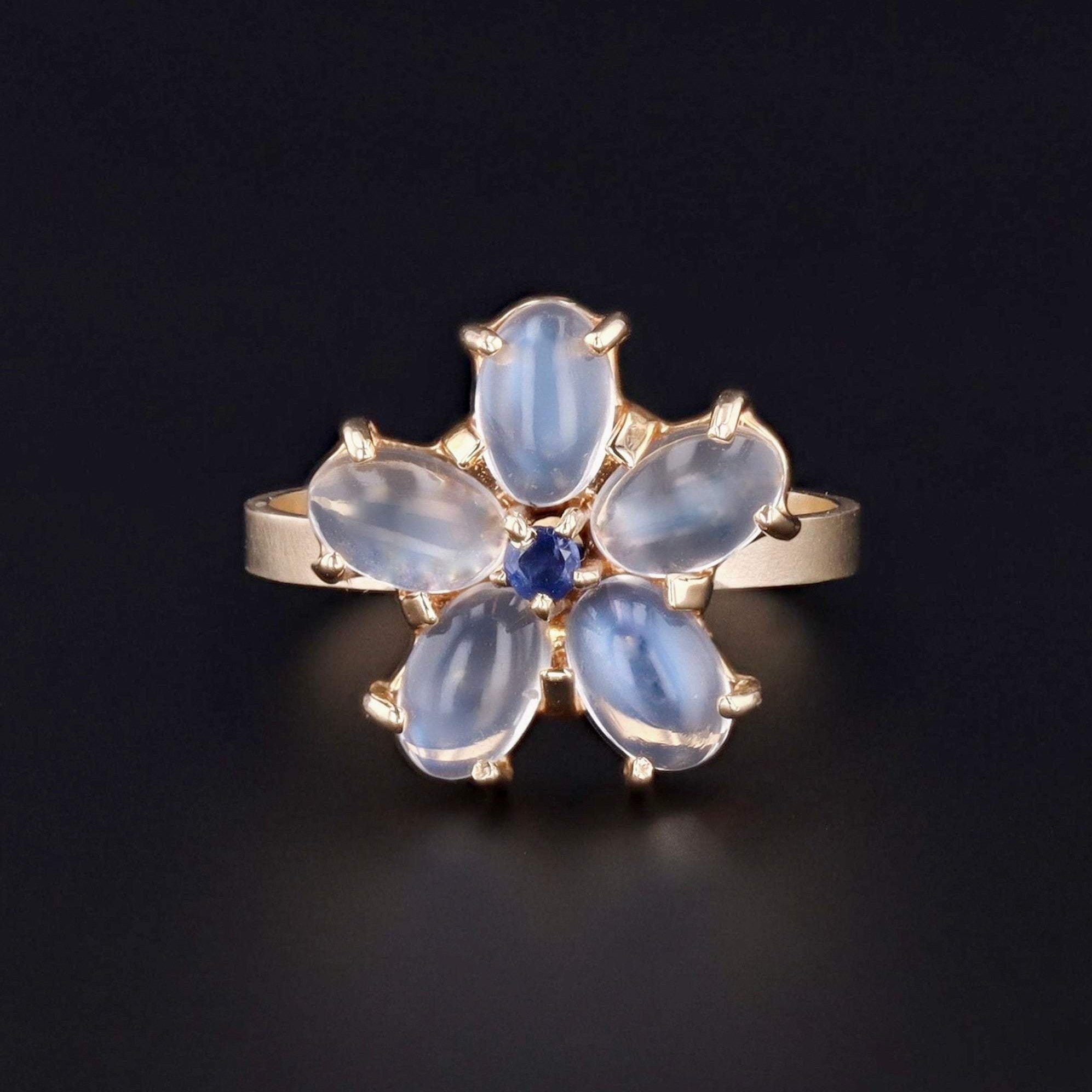 Moonstone & Sapphire Flower Ring | Vintage Pin Conversion Ring | 14k Gold Moonstone Ring | Moonstone Ring