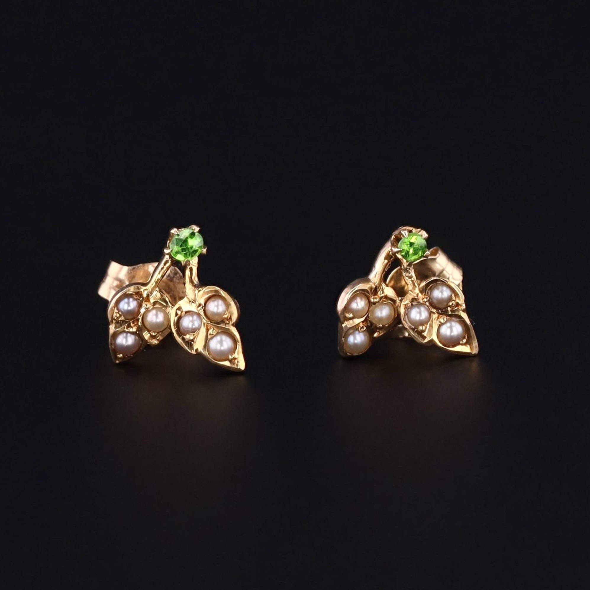 Pearl & Demantoid Garnet Flower Earrings | Antique Pin Conversion Earrings | Pearl Earrings | Bridal Earrings