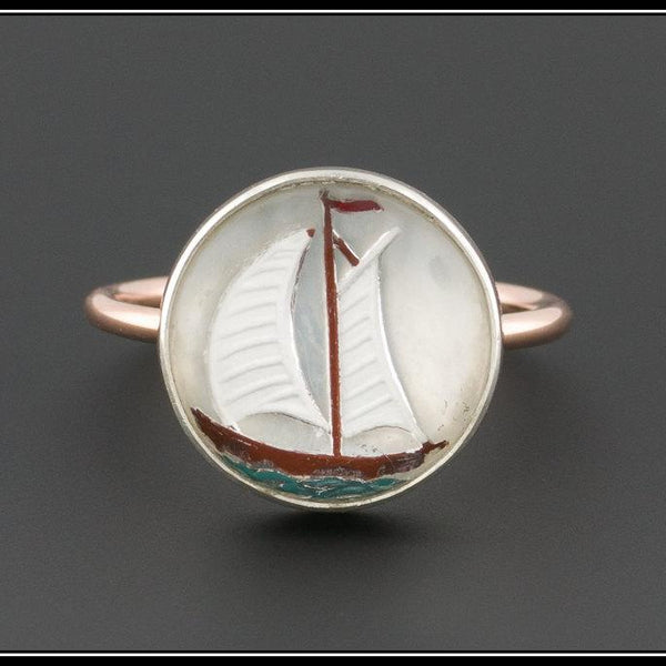 Vintage Conversion Ring | Sailboat Ring | Silver & 10k Rose Gold Boat Ring | Reverse Painted Glass Ring | Beach Jewelry | Nautical Ring