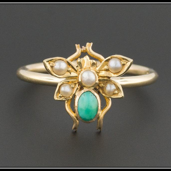 10k Gold Bug Ring | Turquoise Fly Ring | Antique Insect Ring | Turquoise & Pearl Bee Ring | Antique Conversion Ring | 10k Gold Ring