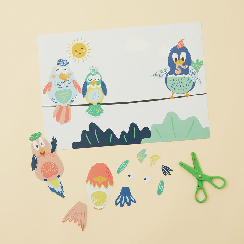 Crafty Little Kits Box - build your own set of birds cut and glue sustainable craft activity made in New Zealand
