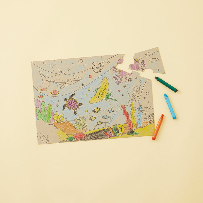 Crafty Little Kits Box - Fish & Friends 15 piece puzzle sea animals colour in sustainable craft activity for kids your children will love