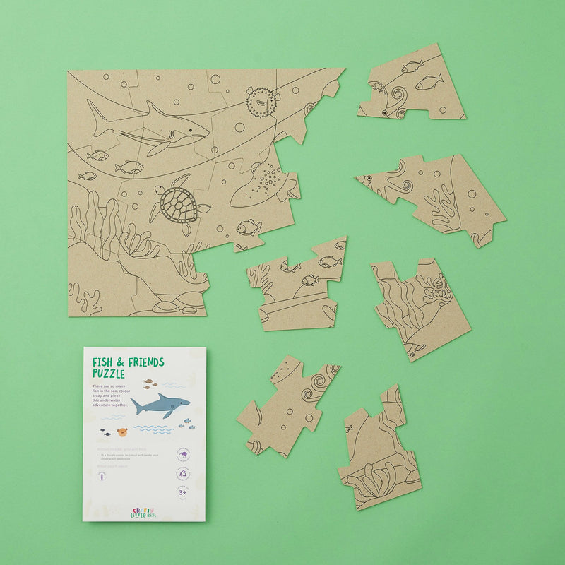 Crafty Little Kits Box - Fish & Friends 15 piece puzzle sea animals colour in underwater adventure sustainable craft activity for kids your children will love made in New Zealand