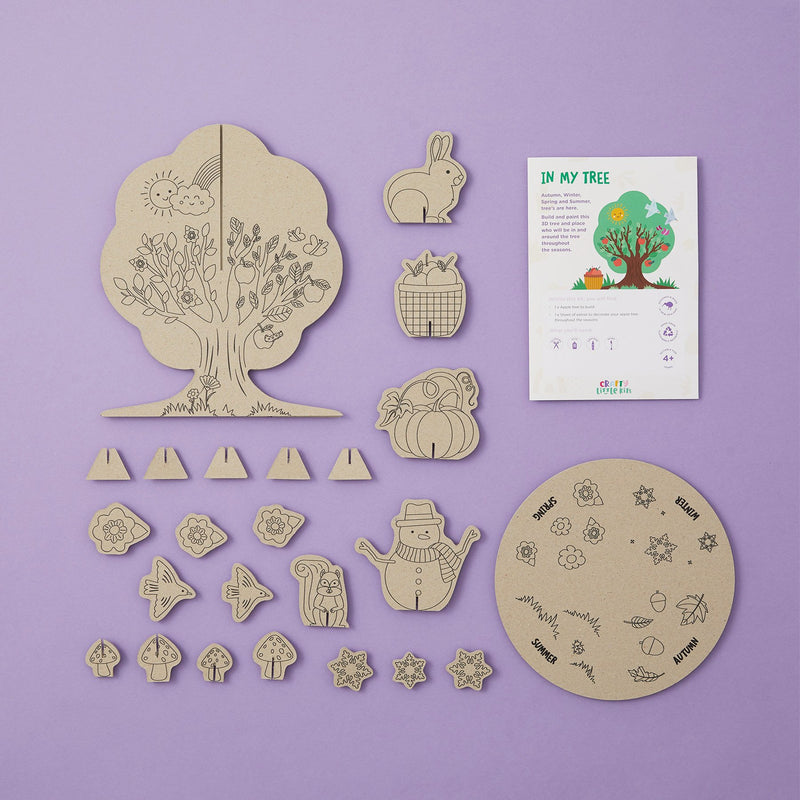 Crafty Little Kits Box - decorate your own apple tree Autumn, Winter, Spring and Summer sustainable craft activity for kids your children will love made in New Zealand