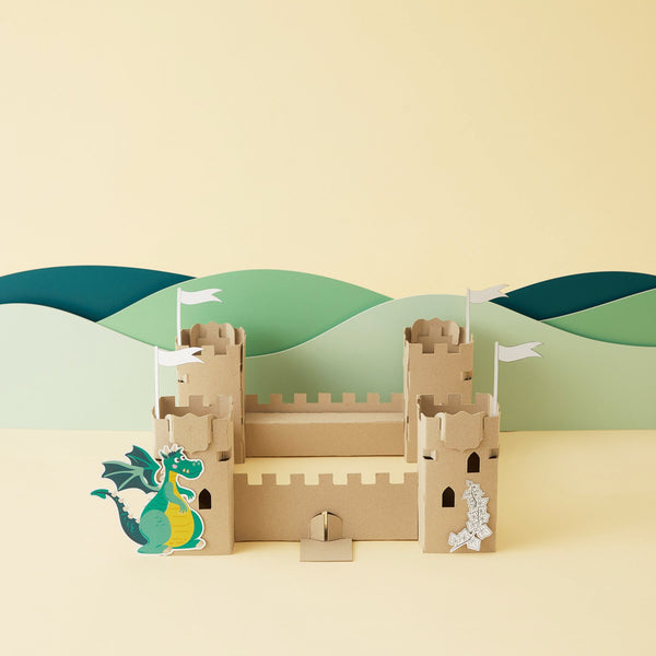Crafty Little Kits Box - decorate your own castle drawbridge and dragon sustainable craft activity made in New Zealand
