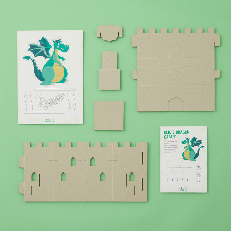 Crafty Little Kits Box - decorate your own 3D castle drawbridge and dragon sustainable craft activity made in New Zealand