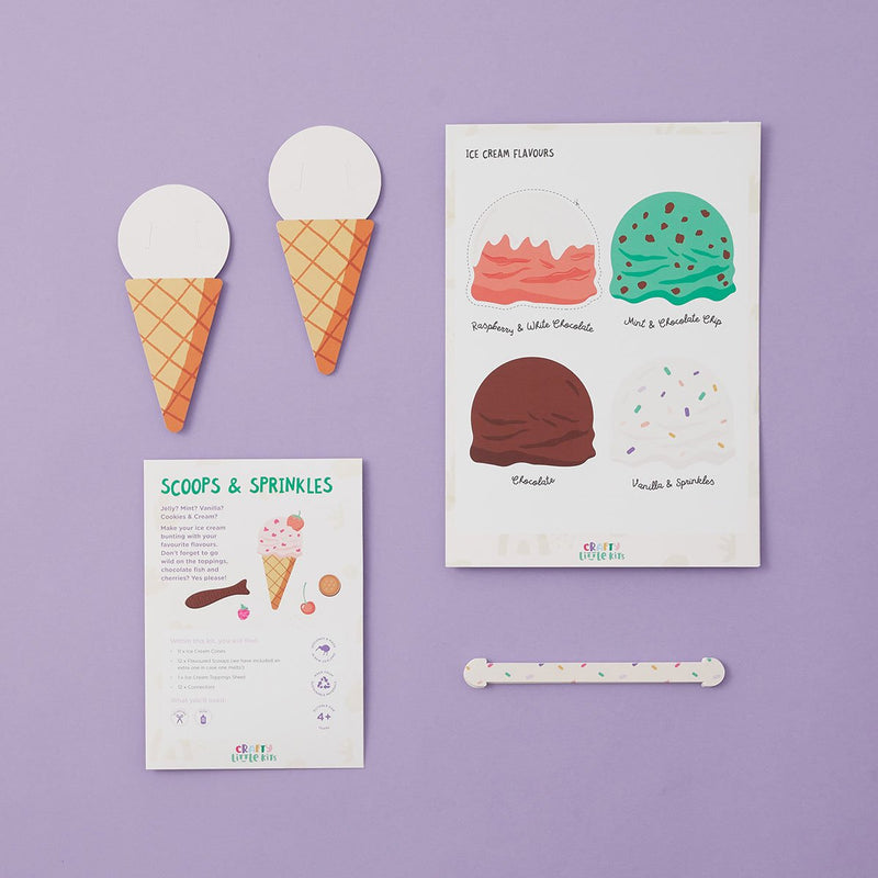Crafty Little Kits Box - Make your favourite ice cream add toppings with our set of bunting party garland sustainable craft activity made in New Zealand