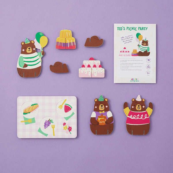 Crafty Little Kits Box - teddy bears picnic party with jelly cake & honey sustainable craft activity for kids your children will love made in New Zealand