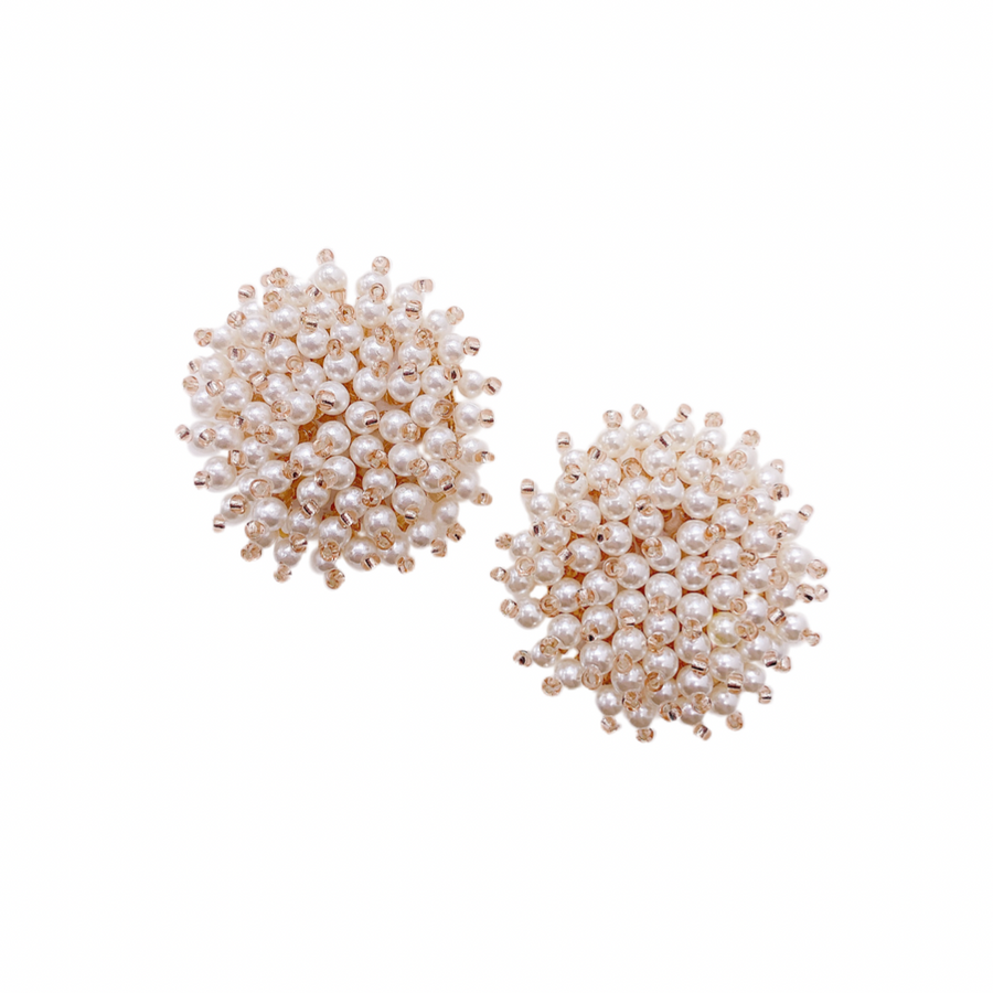 Sophie Beaded Pearl Large Studs || Made by Maddie