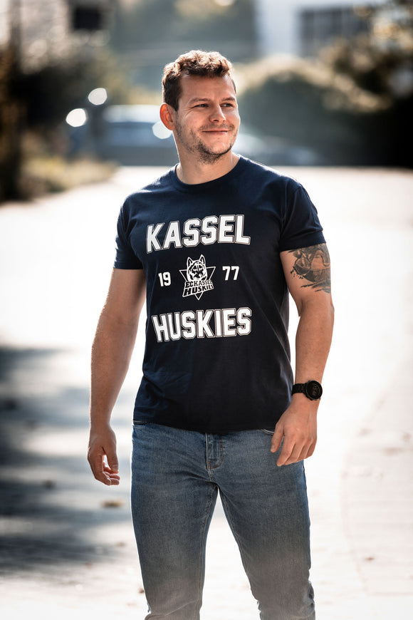 T-Shirt Huskies 1977 - Blau