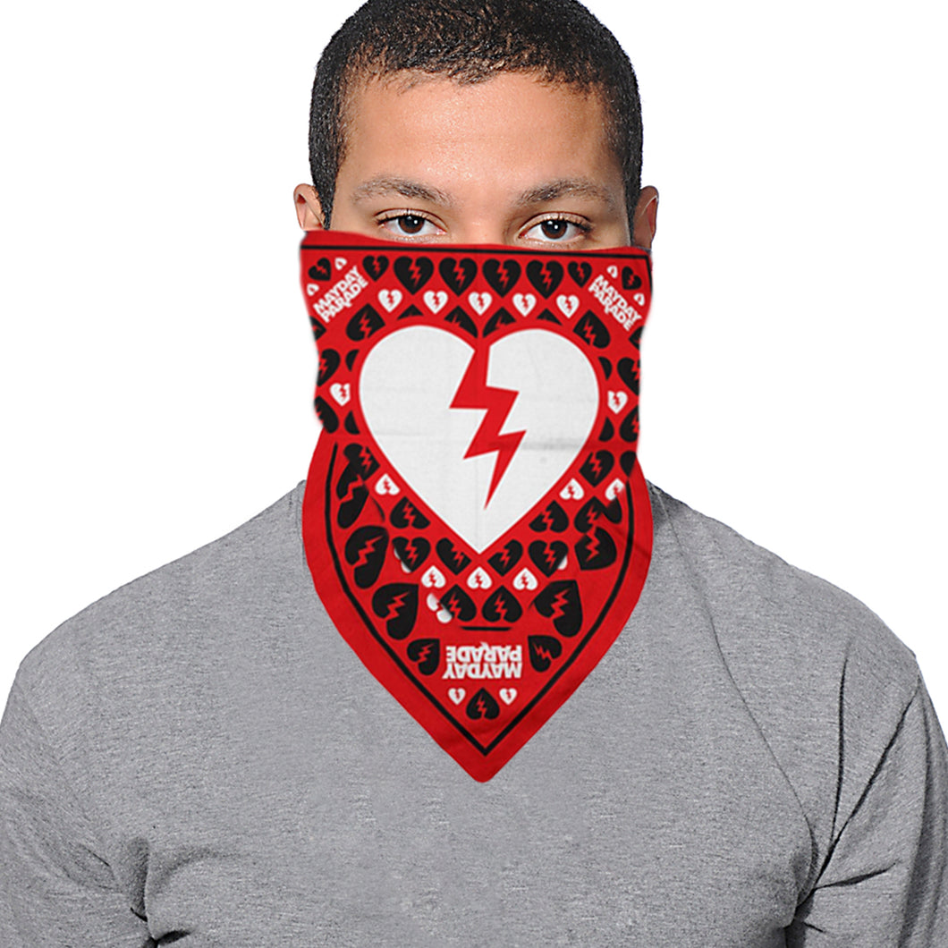 Broken Heart Red Bandana - Face Covering