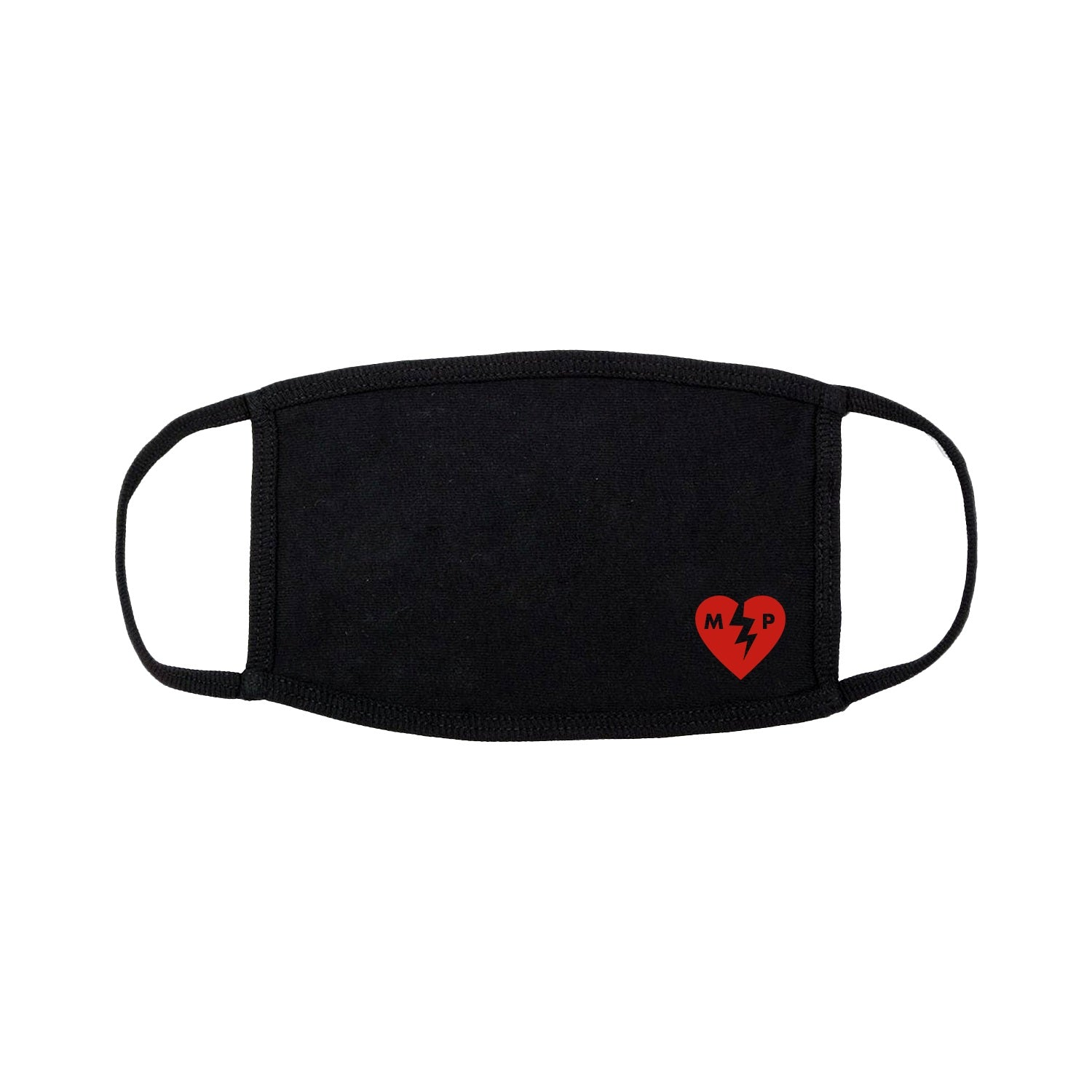 Broken Heart Black Face Mask