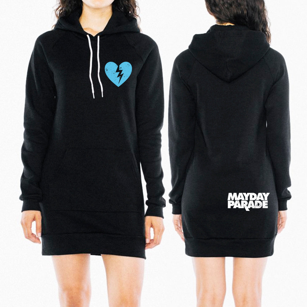 Heart Black Hoodie Dress