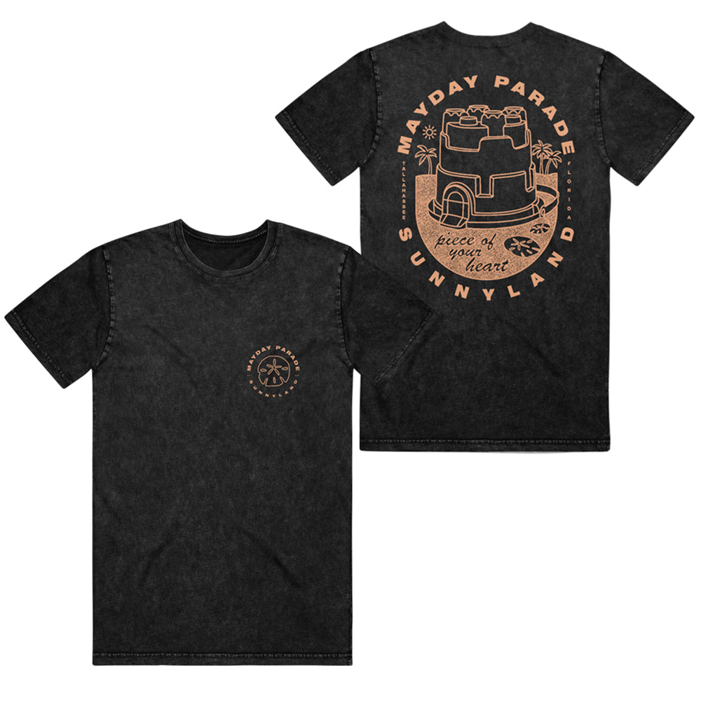 Sand Castle Black Acid Wash T-Shirt