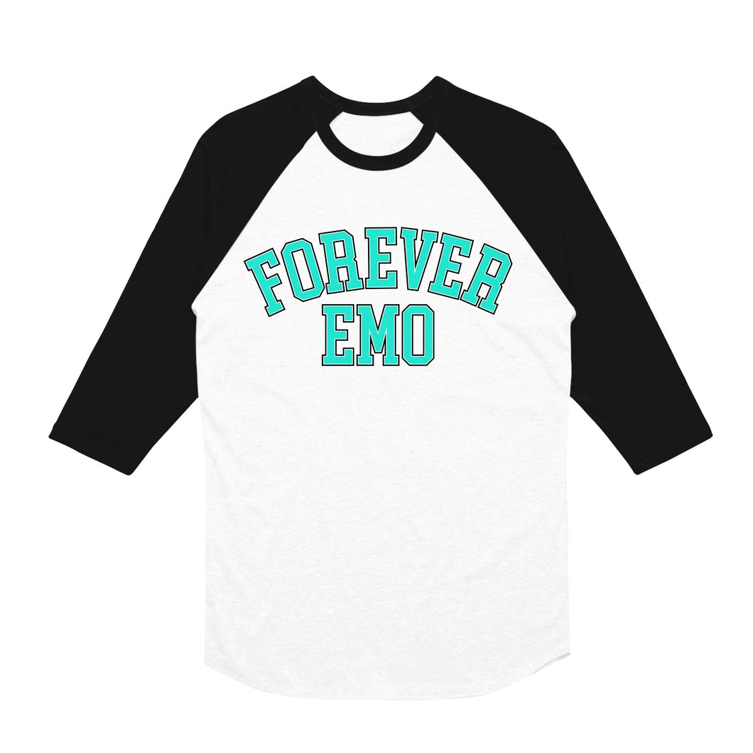 Forever Emo White/Black Baseball T-Shirt