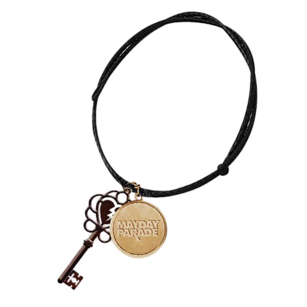 Victorian Key & Charm Leather Necklace
