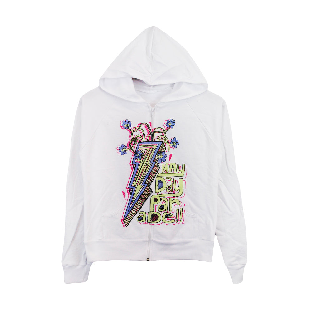 Lightning Bolt White Women's Zip-Up