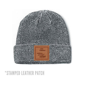 Black Lines Peppered Patch Beanie