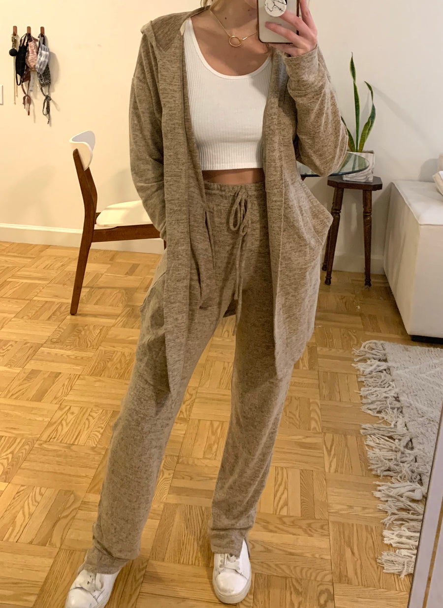 Taupe Brushed Knit Terry Lounge Pants