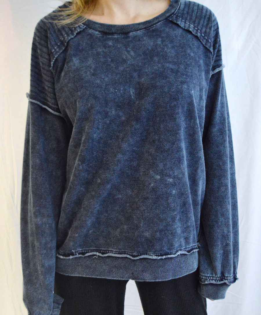 Mineral Wash Inside Out Pullover in Blue Denim