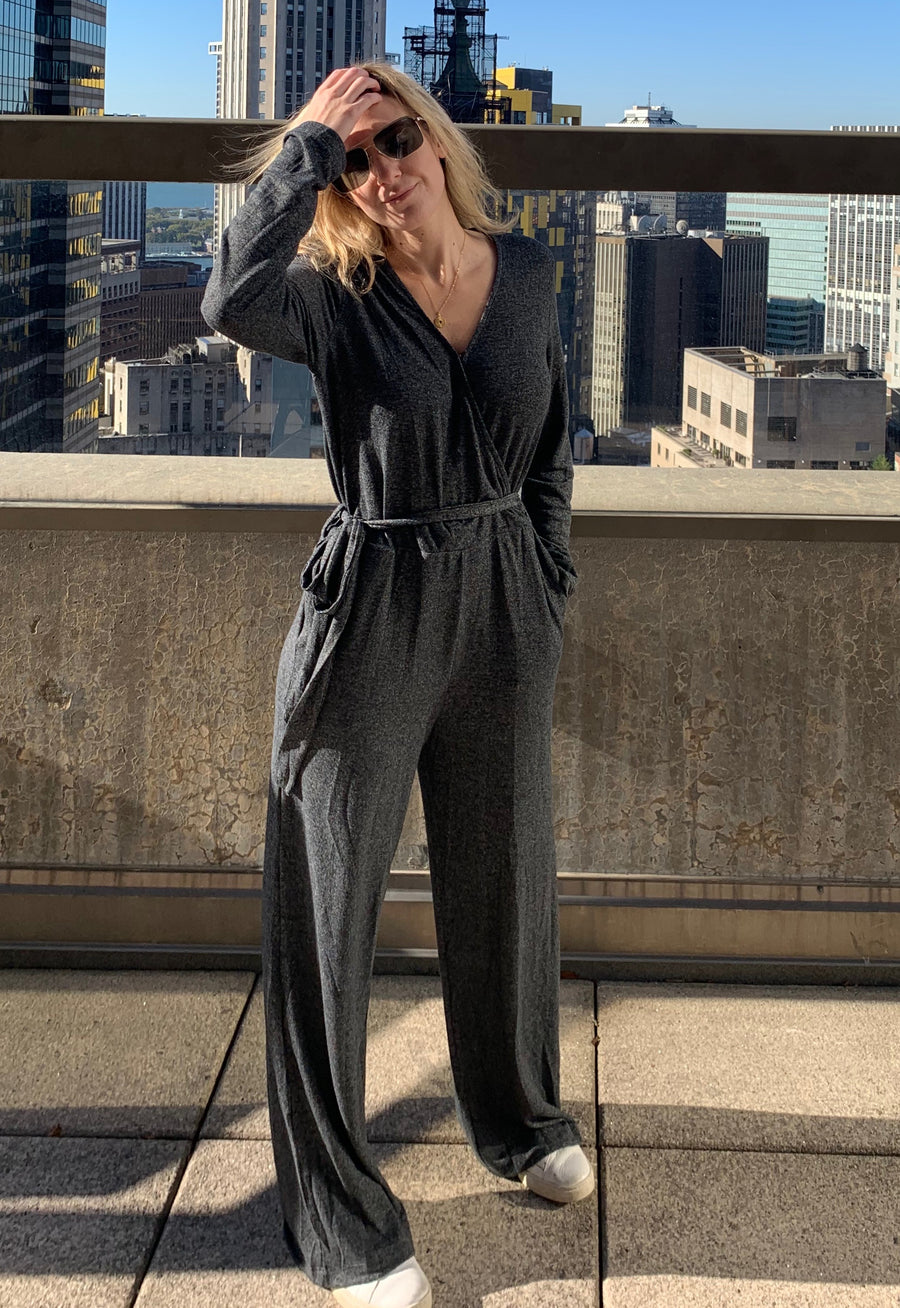 Brushed Terry Crossover Jumpsuit in Charcoal Black