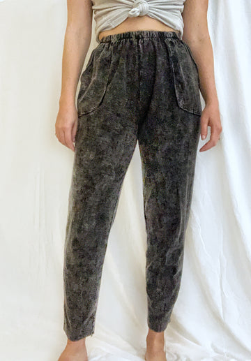 Black Mineral Wash Pull-on Pants