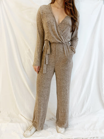 Brushed Terry Crossover Jumpsuit in Mocha