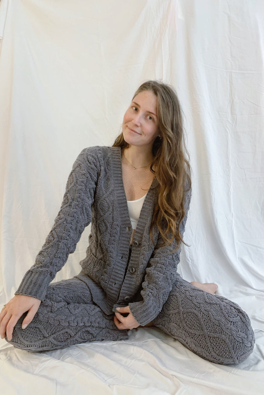 Cable Knit Chenille Cardigan Sweater - Gray