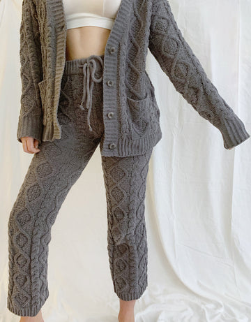 Cable Knit Chenille Pants - Gray