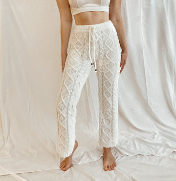 Cable Knit Chenille Pants - White