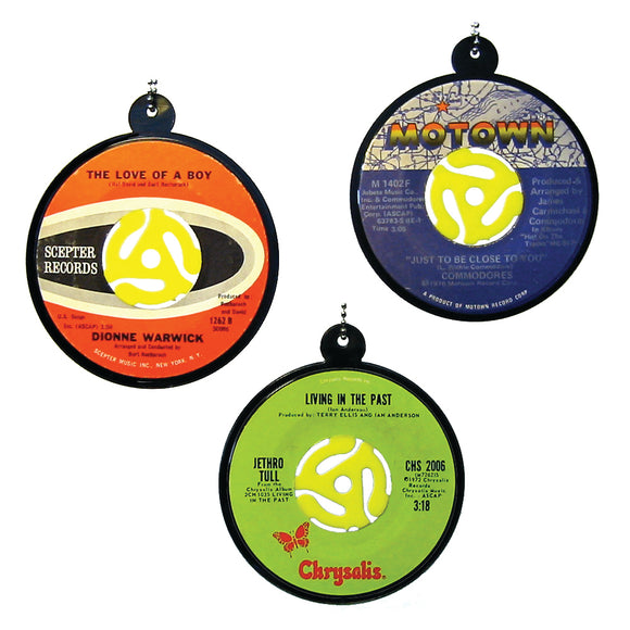 Vintage Recycled 45 RPM Record Ornaments