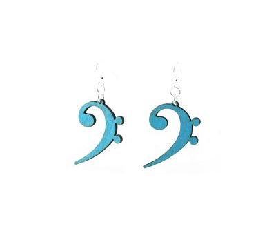 Bass Clef Wood Earrings