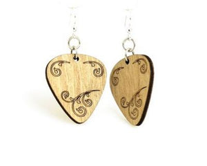 Guitar Pick Wood Earrings