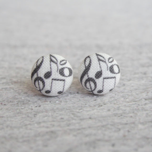 Music Notes Fabric Button Earrings