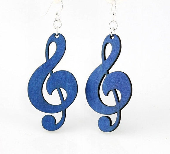 Treble Clef Wood Earrings