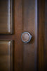 Antique Brass Knob with Tan Leather on drawers