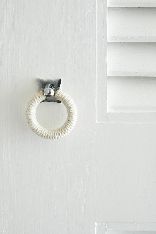 Polished Chrome pull with Cotton Rope on cupboards
