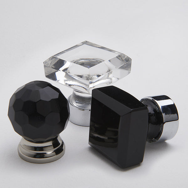 Glass Knob - Faceted Black