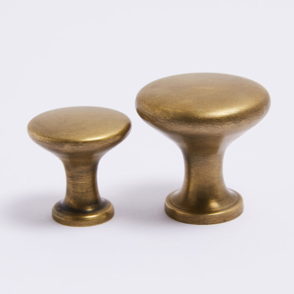 Ascot Knob Large - Acid Washed Brass